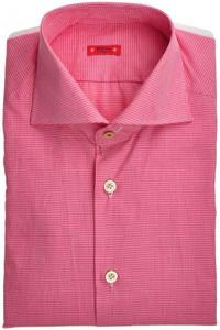 "Kiton ""Cipa"" Luxury Dress Shirt Cotton 15 3/4 40 Red White Fancy 01SH0463"