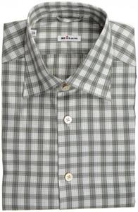 Kiton Luxury Dress Shirt Fine Cotton 15 3/4 40 Green White Plaid 01SH0462