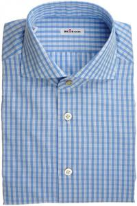 Kiton Luxury Dress Shirt Fine Cotton 15 3/4 40 Blue White Check 01SH0460