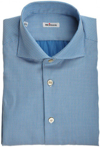 Kiton Luxury Dress Shirt Fine Cotton 15 3/4 40 Blue White 01SH0474