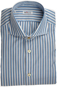 Kiton Luxury Dress Shirt Fine Cotton 15 3/4 40 Blue White Stripe 01SH0469
