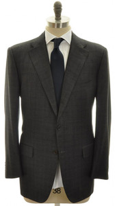 Kiton Suit 3B Wool Cashmere 44L 54L Gray Glen Plaid