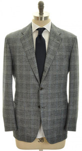 Kiton Suit 3B Wool Cashmere Flannel 44 54 Gray Blue Plaid