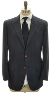 Kiton Suit 3B 14 Micron 180s Wool 44 54 Blue Brown Stripe