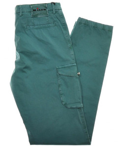 Kiton Luxury Cargo Pants Cotton Stretch Twill 33 49 Washed Green 01PT0115