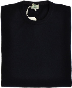 Luigi Borrelli Sweater Crewneck Wool Cashmere 54 XLarge Navy Blue 05SW0111