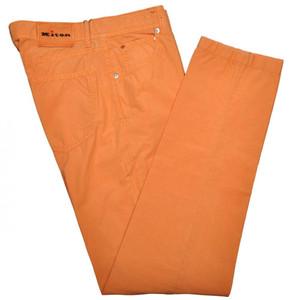 Kiton Luxury Jeans Cotton Poplin 33 49 Washed Orange 01JN0349