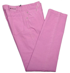 Kiton Luxury Jeans Cotton Poplin 32 48 Washed Purple-Lavender 01JN0348