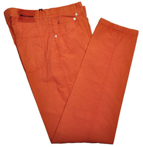 Kiton Luxury Jeans Cotton Poplin 33 49 Washed Dark Orange 01JN0345