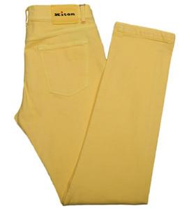 Kiton Luxury Denim Jeans Cotton Stretch Selvedge 33 49 Yellow 01JN0344