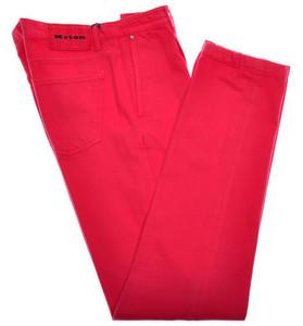 Kiton Luxury Denim Jeans Cotton Selvedge 33 49 Washed Pink-Red 01JN0343