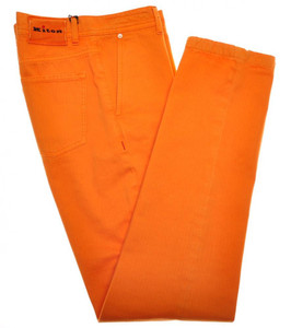Kiton Luxury Jeans Cotton Selvedge Herringbone 33 49 Washed Orange 01JN0342