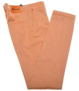 Kiton Luxury Jeans Lyocell Stretch Twill 33 49 Washed Orange 01JN0356