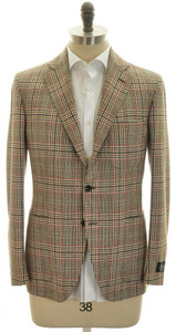 Belvest Sport Coat Jacket 3B Wool 40 50 Brown Plaid 50SC0107