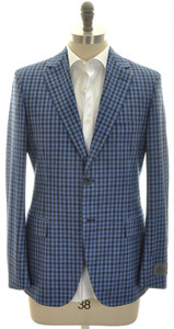 Belvest Sport Coat Jacket 2B Wool Silk Linen 46 56 Blue Check 50SC0105