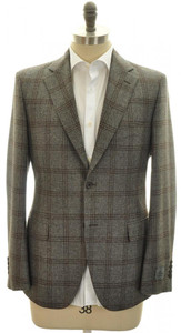 Belvest Sport Coat Jacket 2B Wool 38 48 Gray Brown Plaid 50SC0111