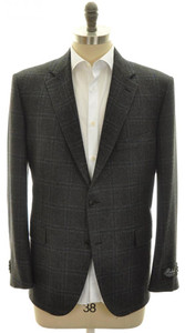Belvest Sport Coat Jacket 2B Wool Cashmere Size 48 S Gray Plaid 50SC0140