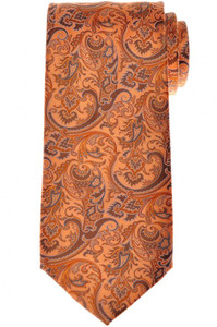 Stefano Ricci Tie Silk 59 3/4 x 3 1/2 Orange Brown Paisley 13TI0561