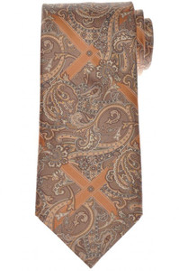 Stefano Ricci Tie Silk 59 x 3 1/2 Brown Copper-Orange Paisley 13TI0560