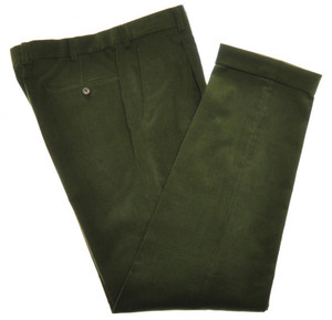 Belvest Pants Flat Front Corduroy Cotton Stretch 34 50 Green 50PT0111