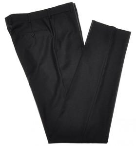 Belvest Pants Flat Front 110's Wool 30 46 Dark Gray 50PT0108