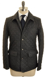 Isaia Napoli Quilted Jacket Coat Wool 50 Medium Gray Solid 06OT0123
