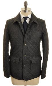 Isaia Napoli Quilted Jacket Coat Wool 50 Medium Gray Solid 06OT0123