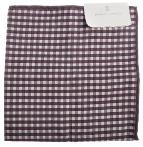 Brunello Cucinelli Pocket Square Double Faced Cotton Linen Purple 02PS0129
