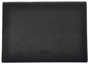 Brioni Passport Case Leather 5 1/2 x 4 Black 03WA0116