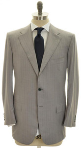 Kiton Suit 3B 14 Micron 180s Wool 40 50 Gray Stripe