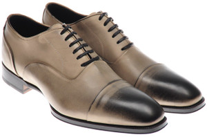 Max Verre Napoli Shoes Leather Patina 6.5 UK 7.5 US Gray-Brown 15SH0034