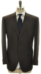 Brioni Suit Chigi Luxury Fine 180s Wool 44 54 Brown Stripe