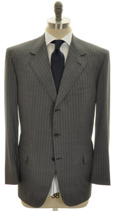 Brioni Suit Nomentano Luxury Fine 150s Wool 44 54 Gray Stripe