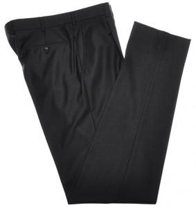 Belvest Pants 1 Pleat Front 110's Wool 32 48 Dark Gray 50PT0116