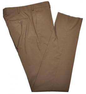 Belvest Pants Flat Front Polyester Poplin 32 48 Brown 50PT0127