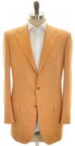 Kiton Sport Coat Jacket 3B Cashmere Silk 41L 51L Orange-Brown 01SC0102