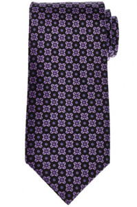 Stefano Ricci Tie Silk 59 1/4 x 3 1/2 Black Purple Geometric 13TI0591