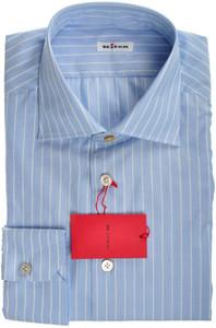Kiton Luxury Dress Shirt Superfine Cotton 17 43 Blue Stripe 01SH0513