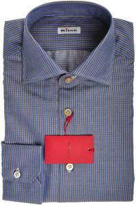 Kiton Luxury Dress Shirt Cotton Cashmere 15 3/4 40 Blue Brown 01SH0518