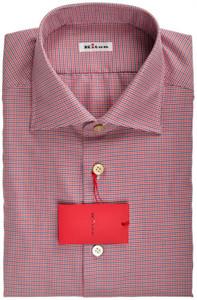 Kiton Luxury Dress Shirt Cotton 16 1/2 42 Blue Red White Check 01SH0533