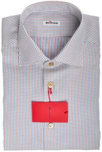 Kiton Luxury Dress Shirt Cotton 15 3/4 40 Blue Red White 01SH0535