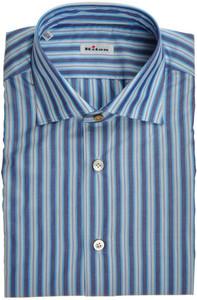 Kiton Luxury Dress Shirt Cotton 15 3/4 40 Blue Stripe 01SH0552