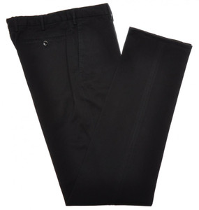 Incotex Casual Dress Pants Washed Cotton Stretch 32 48 Black Solid 28PT0131