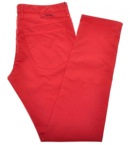 Incotex Jeans Pants Cotton Stretch 36 52 Coral Red Solid 28JN0113