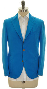 Boglioli 'Coat' Sport Jacket 3B Cotton Linen 44 54 Blue Solid 24SC0162