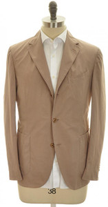 Boglioli 'Coat' Sport Jacket 3B Cotton Poplin 40 50 Brown Solid