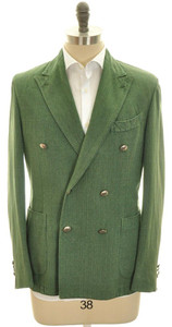 Boglioli 'Coat' Sport Jacket DB Cotton Blend 40 50 Green Solid 24SC0193