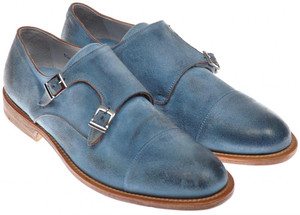 Di Mella Monk Strap Shoes Fatte A Mano Suede 10 UK 11 US Blue 52SO0102