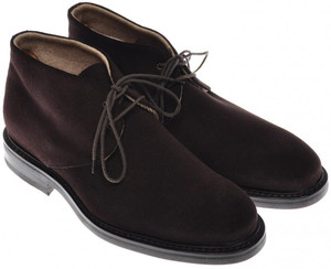 Di Mella Chukka Boots Suede Leather Cashmere Lined 8 UK 9 US Brown 52BT0103