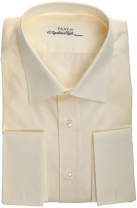 Fray Luxury Dress Shirt French Cuff Cotton 17 1/2 44 Yellow 53SH0102